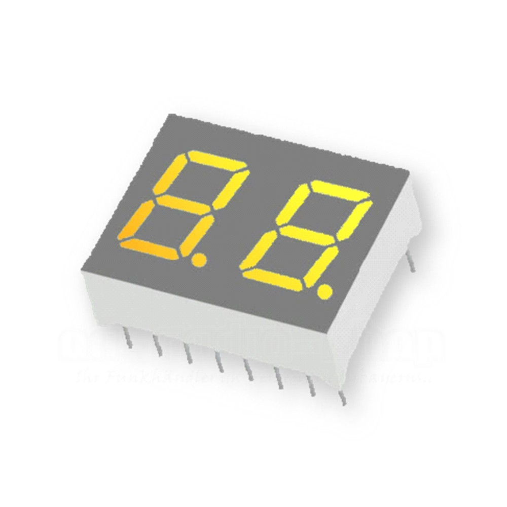 2-Stellig, 10 mm, gelb / Anode