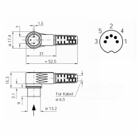 DIN-Stecker, 5-Polig 90°
