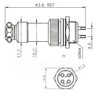 4-pol Mik.buchse, Miniatur